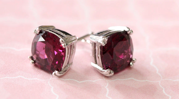 Vivid ~ Rhodolite Garnet Stud Earrings