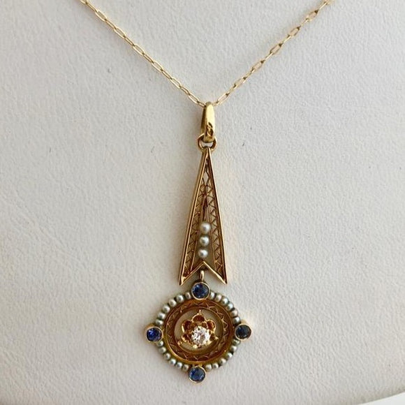 Antique Diamond, Sapphire and Seed Pearl Lavalier and Chain