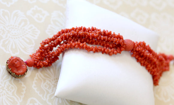 Antique ~ Carved Coral 5 Strand bracelet