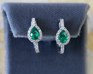 Twinkling ~ Emerald & Diamond Hoop Earrings