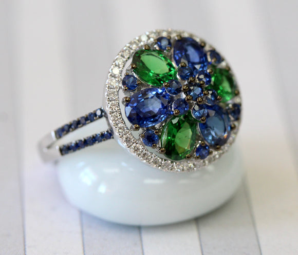 Colorful ~ Sapphire, Diamond & Tsavorite Garnet Ring