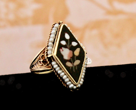 Antique Victorian Pietra Dura Pearl Ring, 14K
