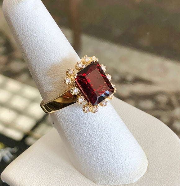 Large Garnet and Diamond Ring