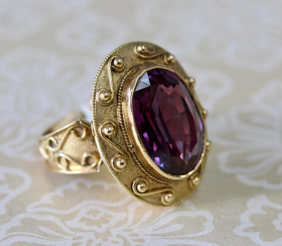 Synthetic Alexandrite Ring in Etruscan Style Motif Setting