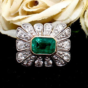 Art Deco Emerald and Diamond Platinum Top Ring