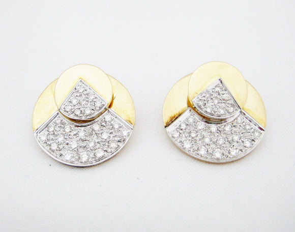 Two Tone Night/Day Pave Diamond Earrings