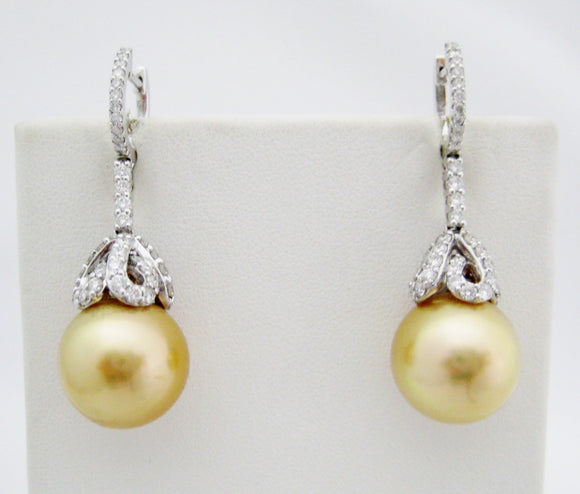 Gold South Sea Pearl Drop Earrings