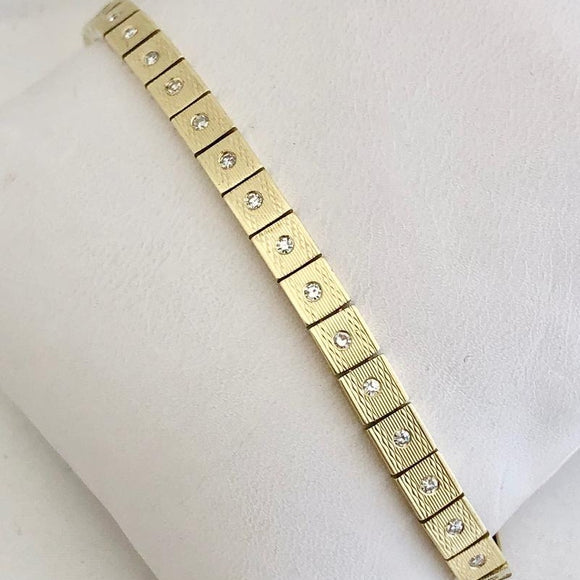 Art Deco Burnished Gold and Diamond Bracelet