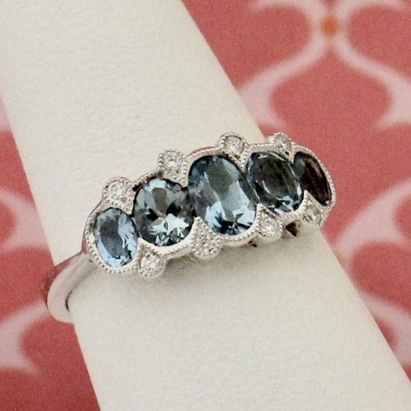 Extra Pretty Aquamarine & Diamond Ring