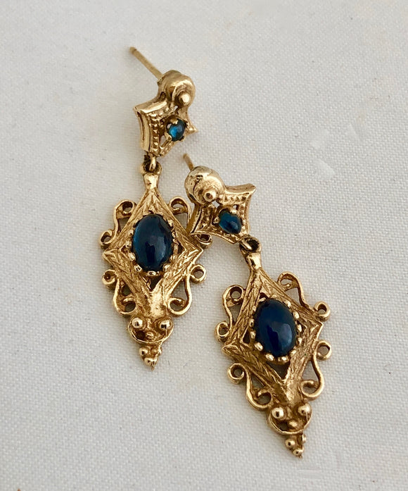 Cabochon Sapphire and Gold Earrings