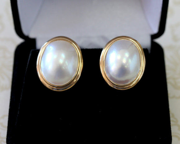 Oval Shaped Mabe Pearl Earrings