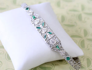 ANTIQUE ~ Diamond Bracelet with colorful Green stones