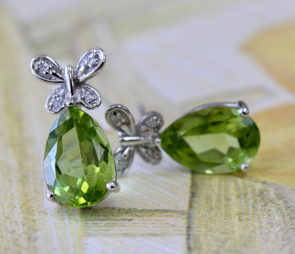 Whimsical ~ Peridot & Diamond Earrings