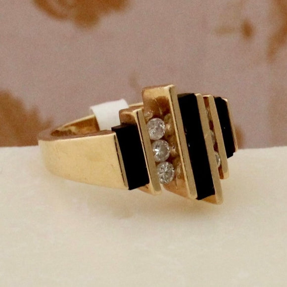 Striking Black Onyx & Diamond Ring