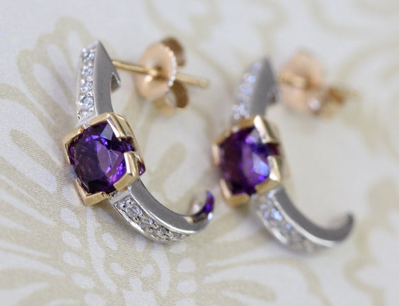 Two Tone Amethyst & Diamond Earrings