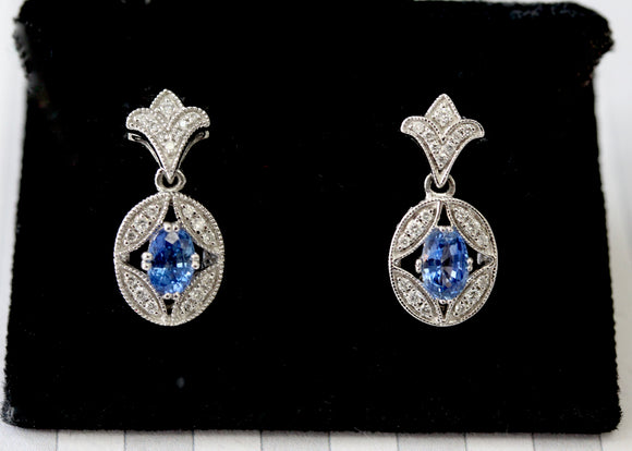 Sapphire & Diamond Earrings ~ Sophisticated