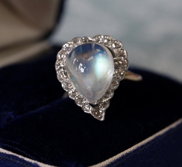 Luminescent ~ Moonstone & Diamond Ring