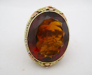 Antique Citrine and Seed Pearl Ring