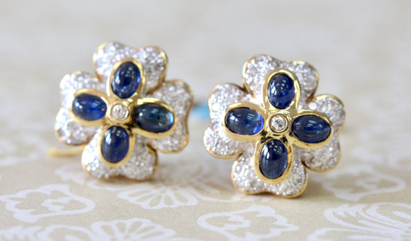 Cabachon Sapphire and Diamond Earrings