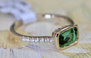 Pretty ~ Green Tourmaline & Diamond Ring