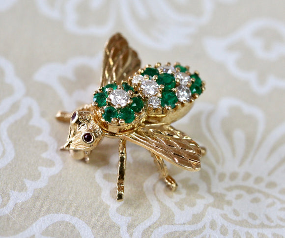 Diamond & Emerald Honey Bee PIn