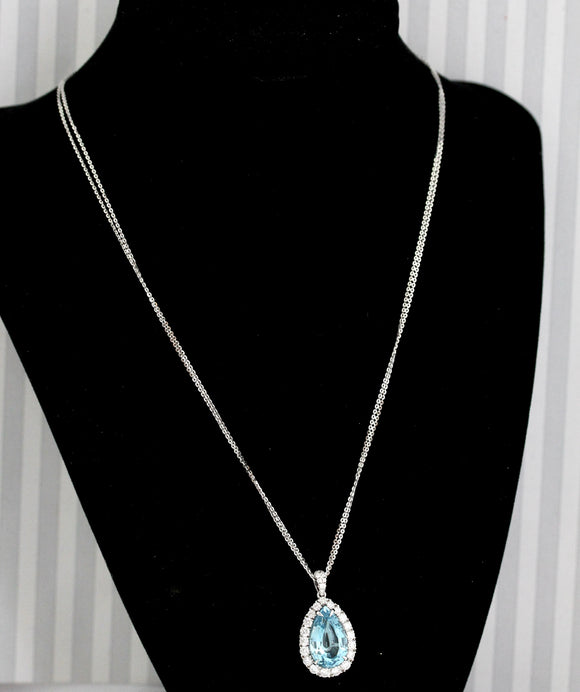 AMAZING ~ Aquamarine & Diamond Necklace