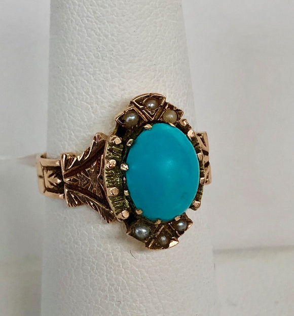 Victorian Persian Turquoise and Pearl Ring