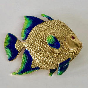 Gold and Enamel Fish Pin