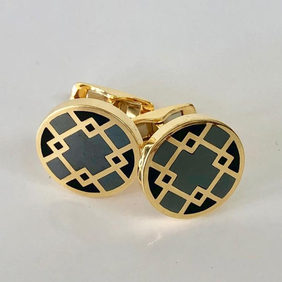 Grey and Black Inlay Cuff Links