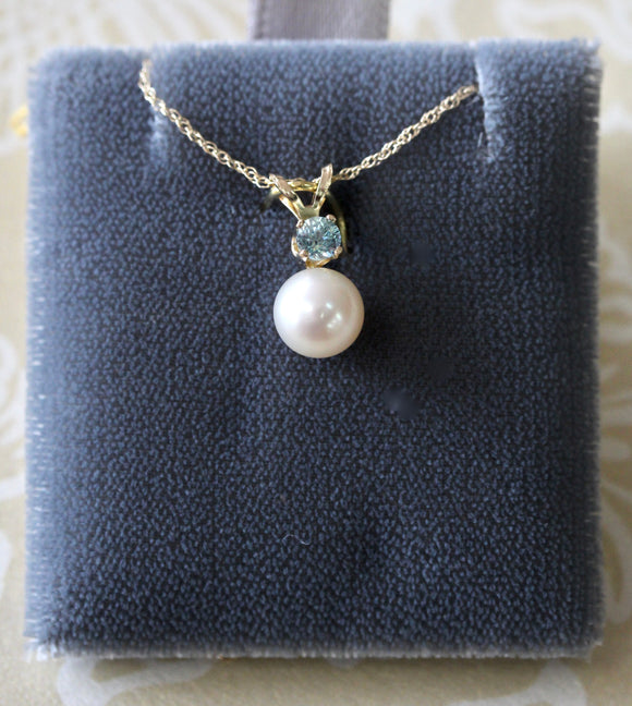 Fresh Water Pearl & Blue Zircon Necklace