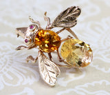 Citrine Bumble Bee Pin ~ Colorful