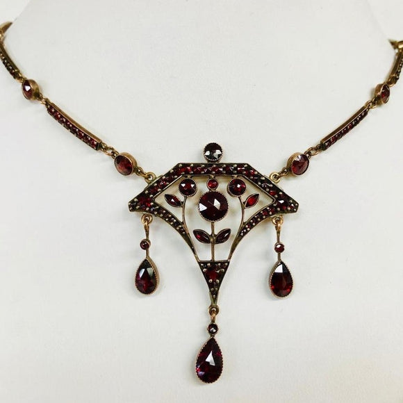 Arts & Crafts Era Garnet Necklace