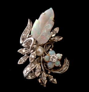 Elegant ~ Carved Opal and Diamond Pin