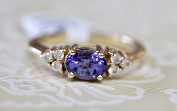Colorful ~ Tanzanite & Diamond Ring