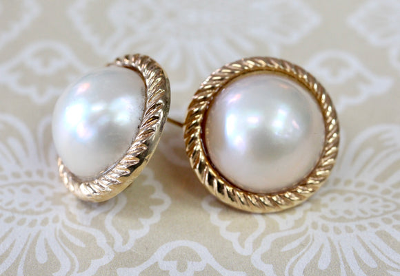 Timeless ~ Mabe Pearl Stud Earrings