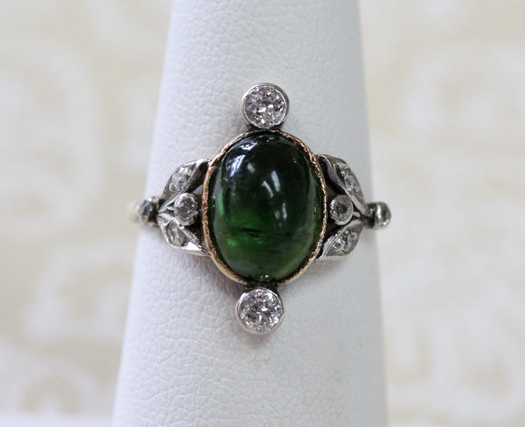 Green Tourmaline & Diamond Ring ~ Chic