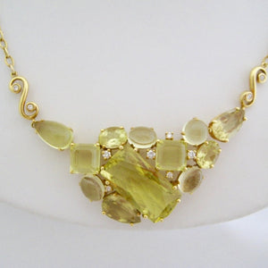 Lemon Quartz and Diamond Neckpiece