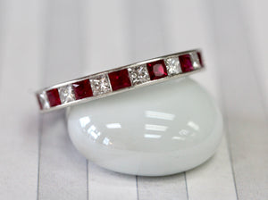 Colorful ~ Platinum Ruby & Diamond Eternity Band