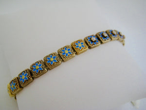 Enamel and Diamond Flower Bracelet