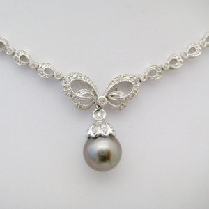 Black Pearl and Diamond Necklace