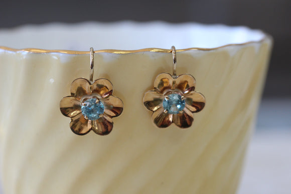 Cheerful ~ Blue Zircon Earrings