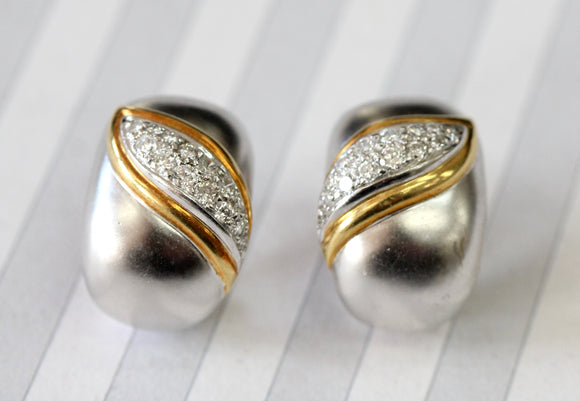 Shimmering ~ Two Tone Diamond Earrings