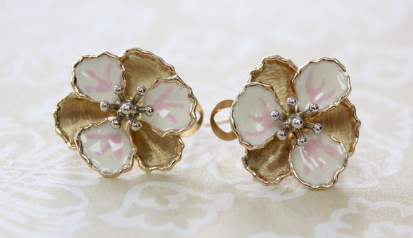 Charming ~ Enamel & Gold Floral Earrings