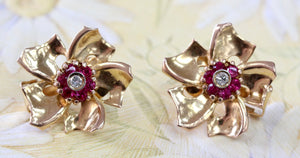 FUNKY ~ RETRO Earrings with Diamond Center