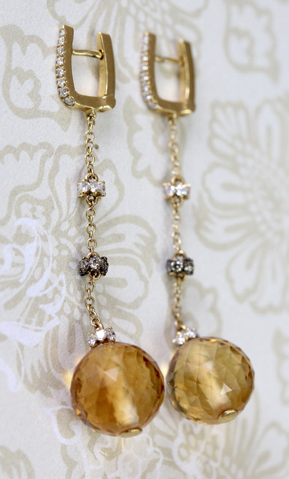 Faceted Citrine & Diamond Hanging Earrings ~ WOW