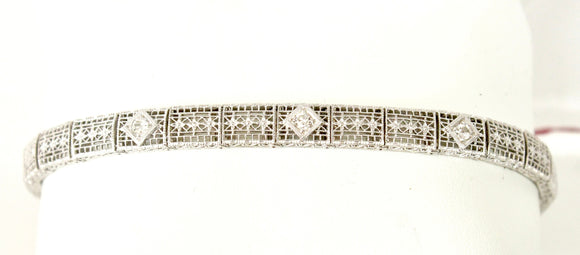 Vintage Filigree and Diamond Bracelet, White Gold