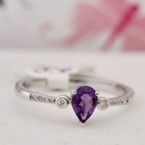 Precious Contemporary Pear Shaped Amethyst & Diamond Ring