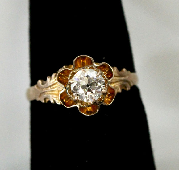 Victorian Ring with European Cut Center Diamond & decorative mounting. 10K