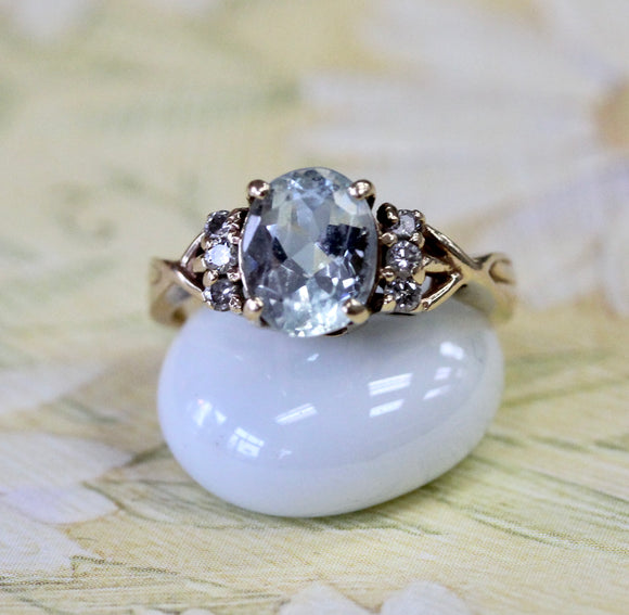 Lovely ~ Aquamarine & Diamond Ring