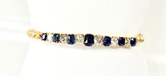 Antique Old European cut Diamond & Sapphire Bangle Bracelet